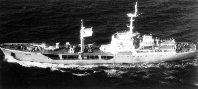 Aerial port beam view of a Soviet Manych class water tanker underway