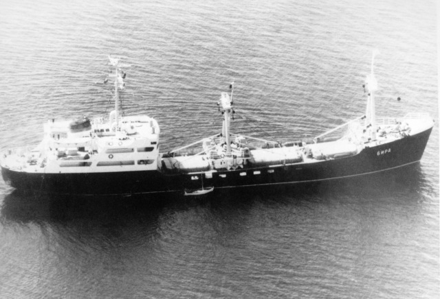 Aerial starboard beam view of a Soviet MP-6 class transport and cargo ship