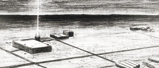 Artist's concept of the Soviet directed energy research and development site at the Sary Shagan proving ground. It includes ground-based lasers that could be used in an anti-satellite role today and for ballistic missile defense in the future. From Soviet Military Power 1985