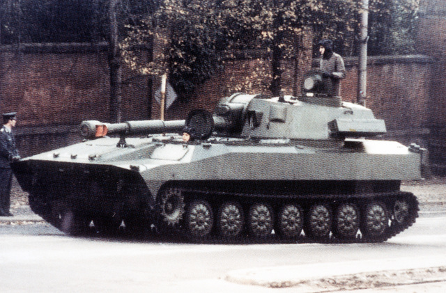 Left front view of a Soviet M-1974 122mm self-propelled howitzer