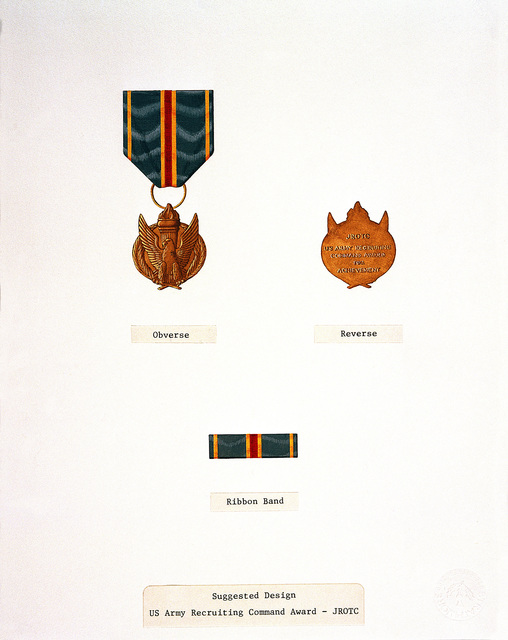 Suggested design for: US Army Recruiting Command Junior Reserve Officers Training Corps medal and ribbon
