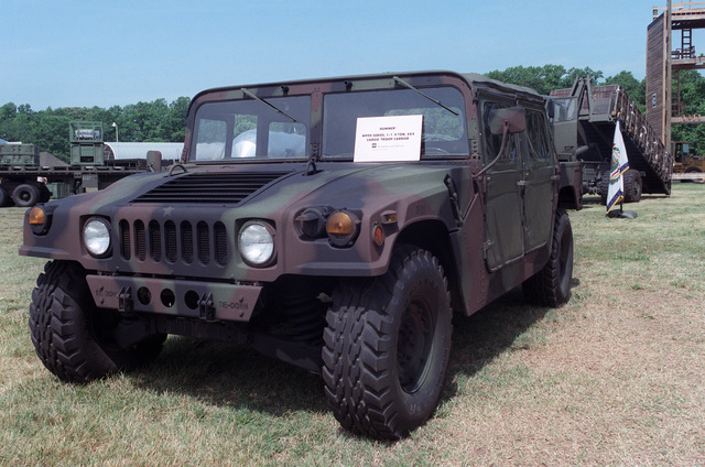 Left front view of an M998 High-Mobility Multipurpose Wheeled Vehicle (HMMWV) vehicle on display during the Army logistics exposition PROLOG'85