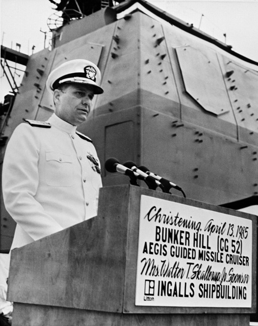 Rear Admiral Donald P. Roane, program manager, Aegis Shipbuilding, Naval Sea Systems Command, speaks during the christening of the guided missile cruiser USS BUNKER HILL (CG 52)