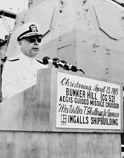 Vice Admiral (VADM) Earl B. Fowler, commander, Naval Sea Systems Command, speaks during the christening of the guided missile cruiser USS BUNKER HILL (CG 52)