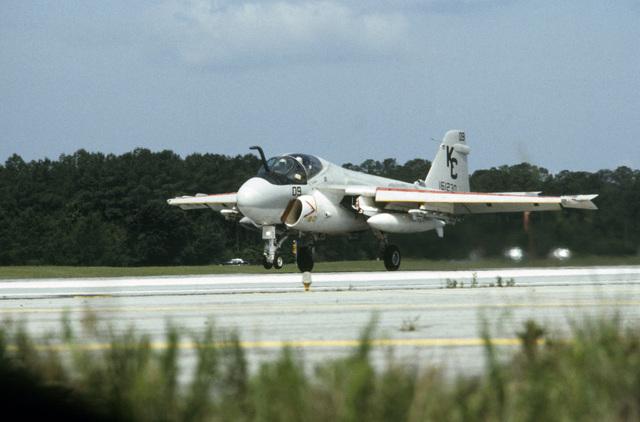 A A-6E Intruder aircraft lands during an air show