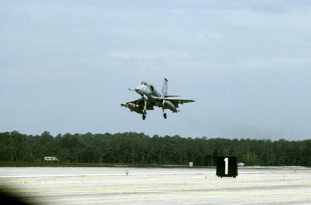 A Marine A-4 Skyhawk aircraft lands during an air show