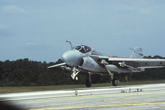 A Marine A-6E Intruder aircraft lands during an airshow