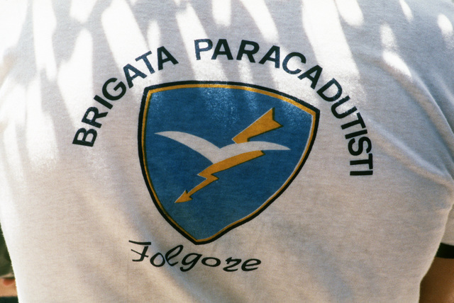 An emblem on the shirt of an Italian competitor during the multinational tactical airlift competition VOLANT RODEO '85