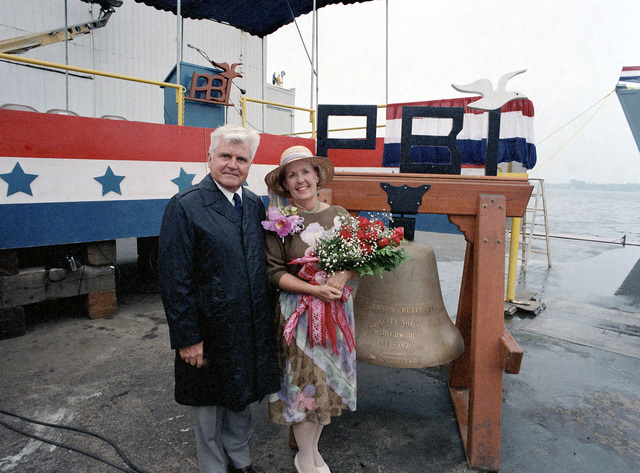 Retired Vice Admiral (VADM) James B. Stockdale and Sybil Bailey Stockdale, ships sponsor, pose for a photo at the launching of the mine countermeasures ship USS AVENGER (MCM 1)