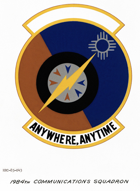 Approved unit emblem for: 1984th Communications Squadron, Air Force Communications Command