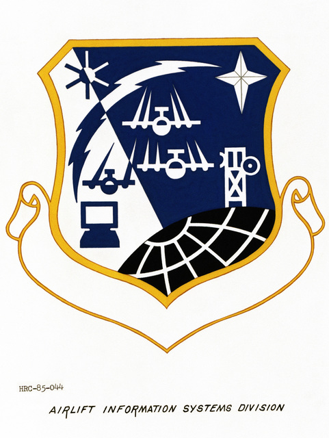 Approved unit emblem for: Headquarters Airlift Information Systems Division, Air Force Communications Command