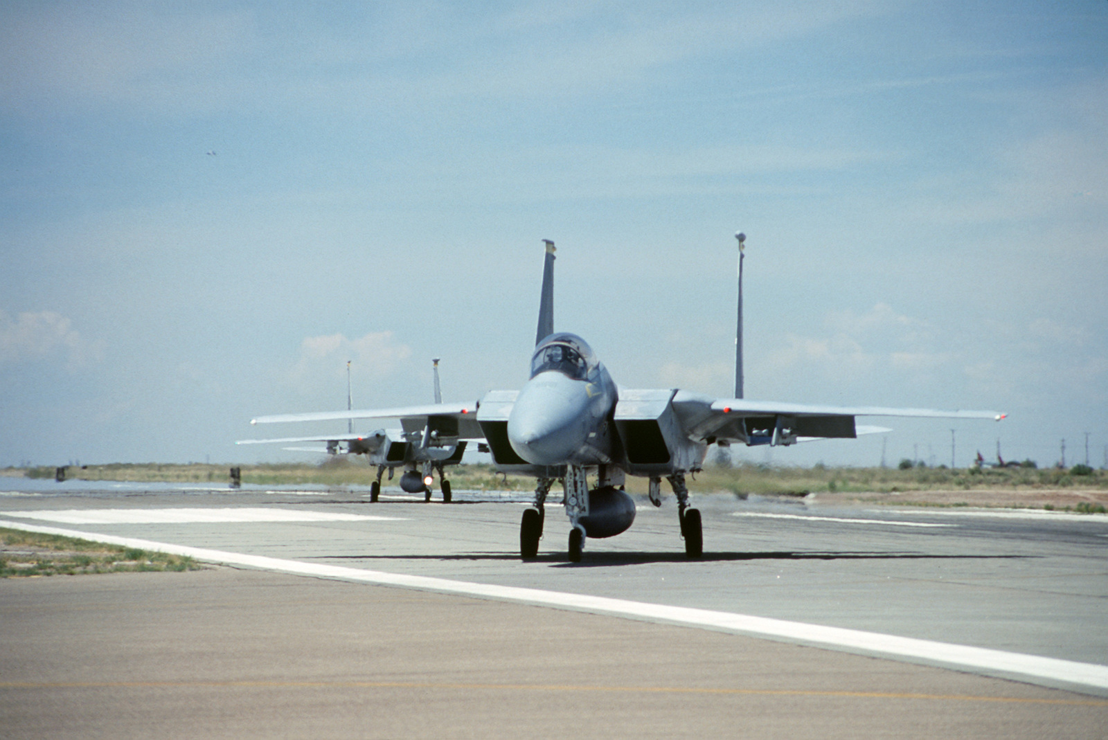 F 15 Eagle Aircraft Assigned To The 8th Tactical Fighter Squadron Taxi Parking Ramps