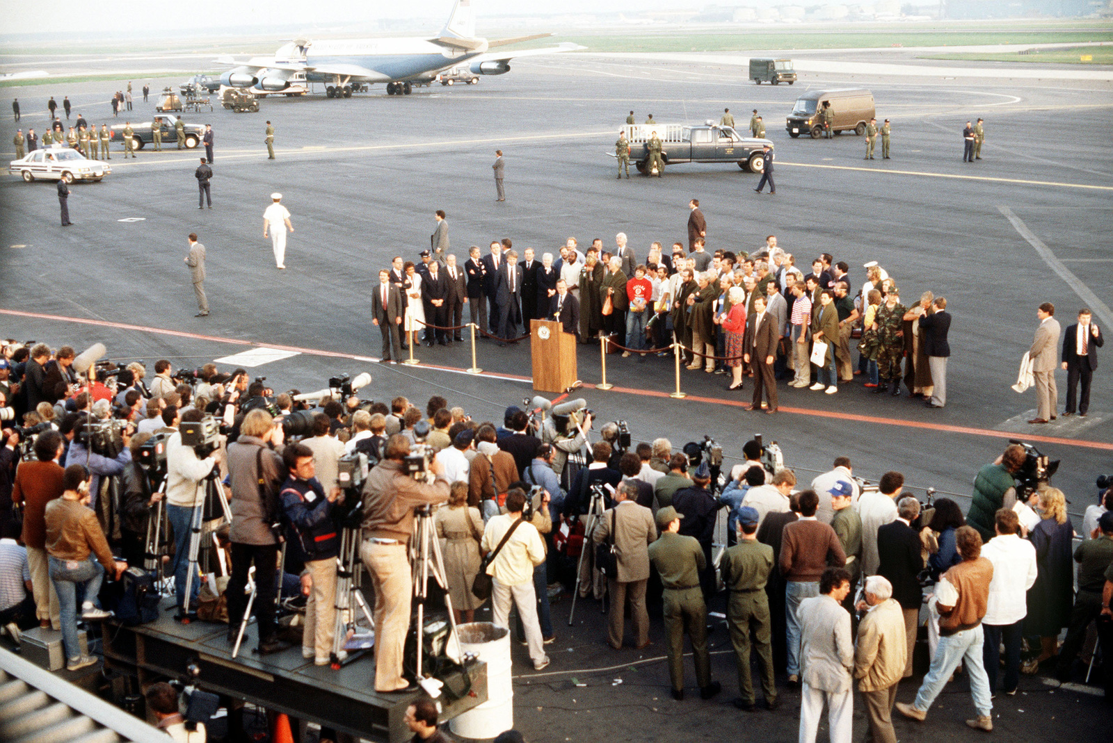 Vice President George Bush speaks at the arrival of former TWA hostages. The 39 US citizens had been held captive for 16 days in Beirut, Lebanon, by Shiite Moslem terrorists