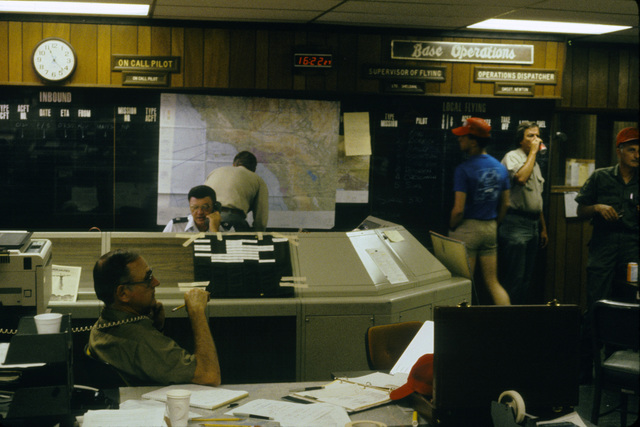 The main operations area of the 146th Tactical Airlift Wing where fire fighting missions of the California Air National Guard (ANG) are being tracked. The California ANG is participating in fire fighting efforts under the direction of the US Forest Service. (SUBSTANDARD)