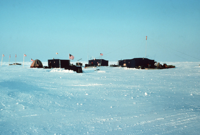 A view of Ice Camp Opal, one of three research stations established on the polar ice cap during the Arctic Research and Environmental Acoustic (AREA) program. AREA '85 is a Navy-sponsored expedition to study oceanography, acoustics, geophysics, communications and submarine warfare in the polar environment