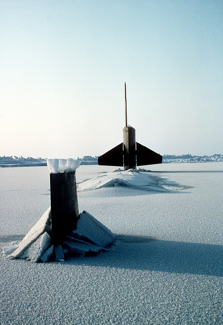 The sail and tail fin of the nuclear-powered submarine USS TREPANG (SSN-674) protrude from the ice after surfacing near Ice Camp Opal, one of three research stations established on the polar ice cap during the Arctic Research and Environmental Acoustic (AREA) program. AREA '85 is a Navy-sponsored expedition to study oceanography, acoustics, geophysics, communications and submarine warfare in the polar environment