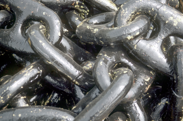 A close-up view of an anchor chain