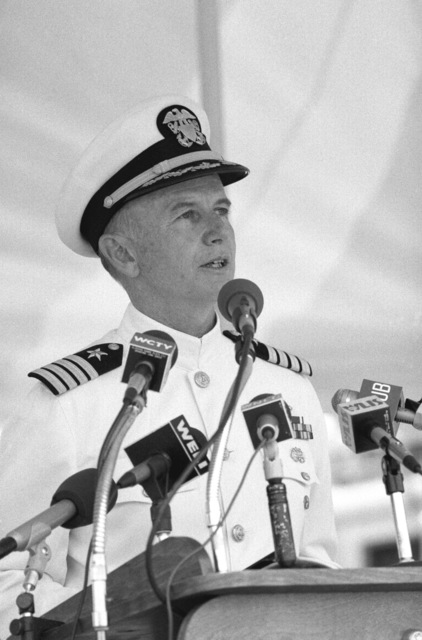 Captain James P. Ranson, commanding officer of the base, speaks during a ceremony welcoming the nuclear-powered attack submarine ex-USS NAUTILUS (SSN 571) back to its original home port. The submarine will remain at the Submarine Force Library and Museum as a memorial