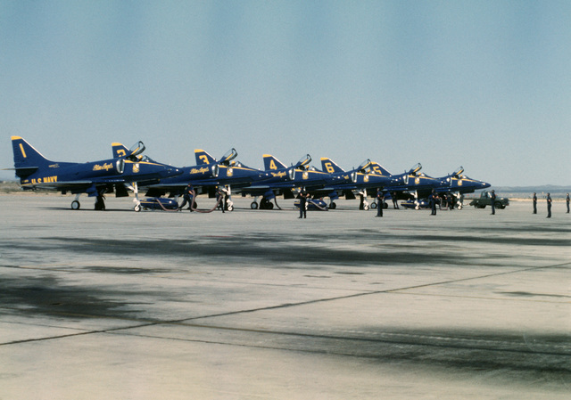 The Blue Angels aerial demonstration team prepares for takeoff during Community Day activities on base