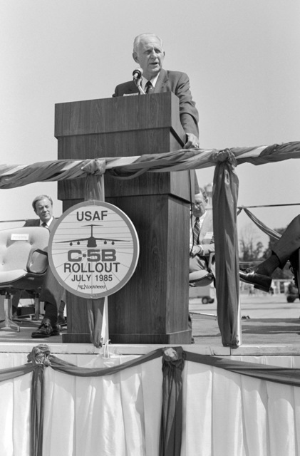 Secretary of the Air Force Verne Orr addresses guests at the rollout ceremony for the first C-5B Galaxy aircraft held at the Lockheed Aircraft Corp. facility