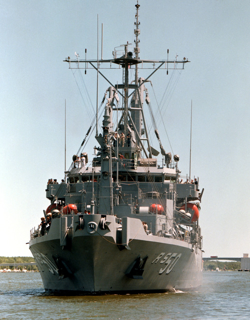 A bow view of the salvage ship SAFEGUARD (ARS 50) undergoing acceptance trials