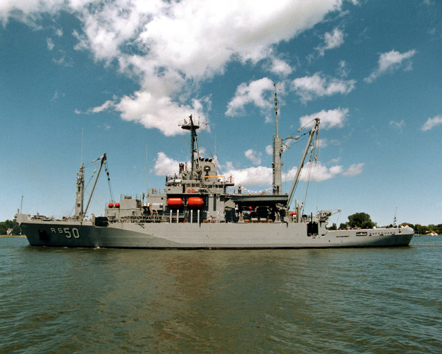 A port beam view of the salvage ship SAFEGUARD (ARS 50) undergoing acceptance trials