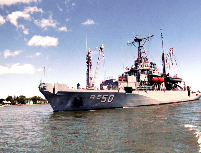 A port bow view of the salvage ship SAFEGUARD (ARS 50) underway during acceptance trials