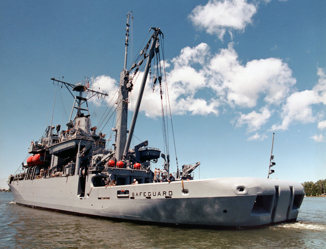 A port quarter view of the salvage ship SAFEGUARD (ARS 50) underway during acceptance trials