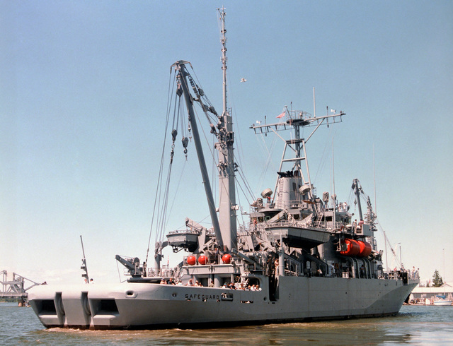 A starboard quarter view of the salvage ship SAFEGUARD (ARS 50) undergoing acceptance trials