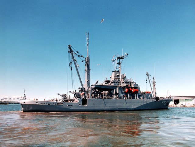 A starboard view of the salvage ship SAFEGUARD (ARS 50) underway during acceptance trials