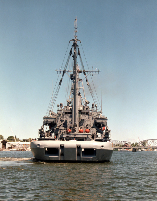 A stern view of the salvage ship SAFEGUARD (ARS 50) undergoing acceptance trials