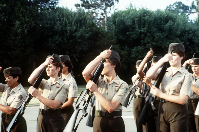 The Marine Corps first all-woman drill platoon performs the