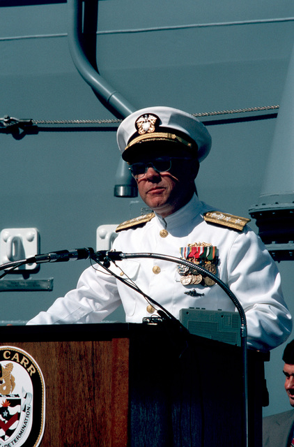 Rear Admiral Laverne S. Severance, commander, Naval Base, Seattle, speaks during the commissioning ceremony for the guided missile frigate USS CARR (FFG 52) at the Todd Pacific Shipyards Corp