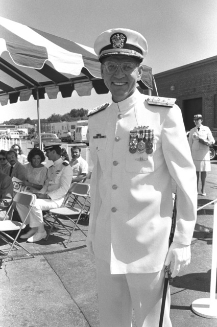Vice Admiral Nils R. Thunman, deputy CHIEF of Naval Operations for Submarine Warfare, arrives for the commissioning of the nuclear-powered attack submarine USS PROVIDENCE (SSN 719)