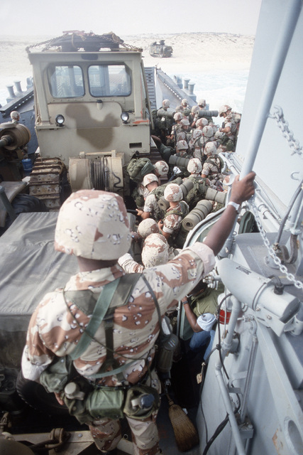 A landing craft carring U.S. Marines and their equipment approaches the Egyptian coast during the multinational joint service Exercise BRIGHT STAR '85