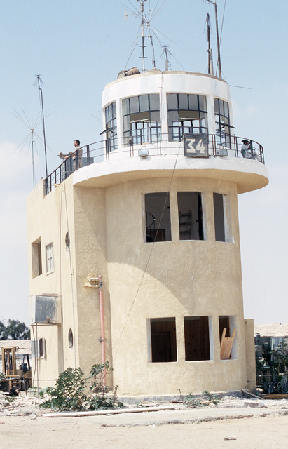 A view of the air traffic control tower used by the 5th Combat Information Systems Group during the multinational joint service Exercise BRIGHT STAR '85