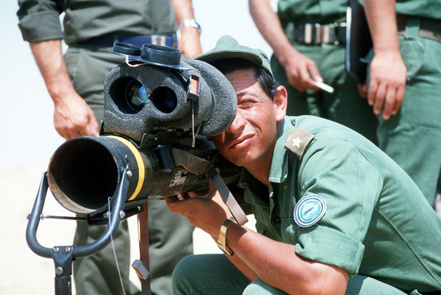 An Egyptian soldier aims an M-47 Dragon anti-tank weapon during the multinational joint service Exercise Bright Star '85