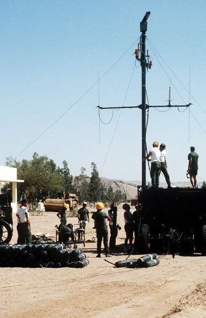 The Mobile Inshore Undersea Warfare van containing radar, communication gear and sonar analysis equipment is set up during the multinational joint service Exercise Bright Star '85