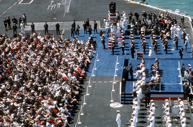 Aerial view of the ceremony being held aboard the nuclear-powered aircraft carrier USS ENTERPRISE (CVN 65) during the Peace in the Pacific celebration commemorating the 40th anniversary of the end of the war with Japan