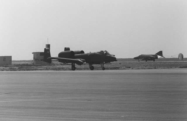 An A-10 Thunderbolt II aircraft taxis on the flight line during the 12th Air Force Gunsmoke '85 competition