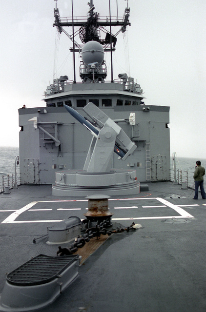 A crew member aboard the guided missile frigate USS Halyburton (FFG-40) performs a daily systems operational test (DSOT) on a Mark 13 Mod 4 missile launcher during exercise Ocean Safari '85