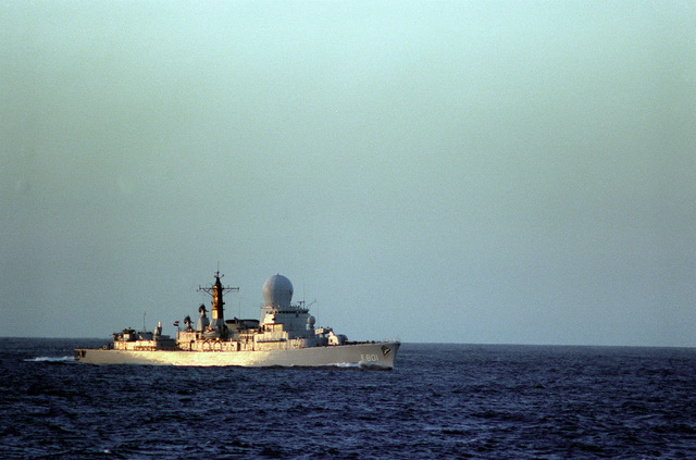 A starboard bow view of the Danish frigate HR MS TROMP (F-801) underway during exercise Ocean Safari '85