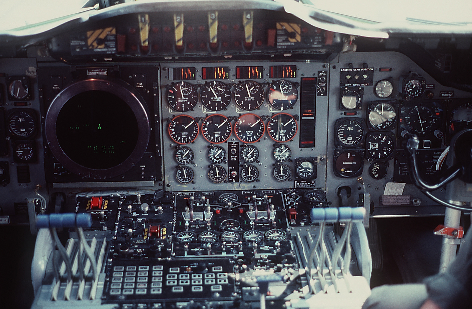 The instrument panel in the cockpit of a P-3C Orion anti-submarine