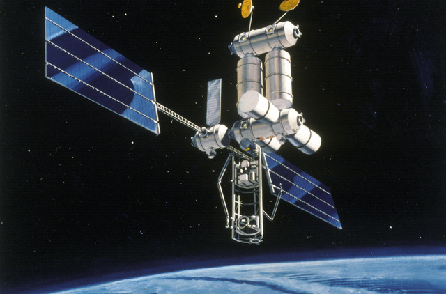 Artist's concept of a space station in orbit