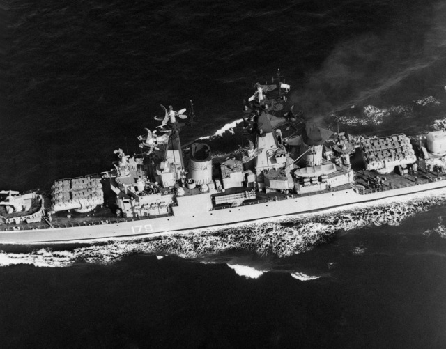 An elevated port amidships view of a Soviet Kynda class guided missile cruiser underway