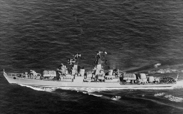 An elevated port beam view of a Soviet Kynda class guided missile cruiser underway