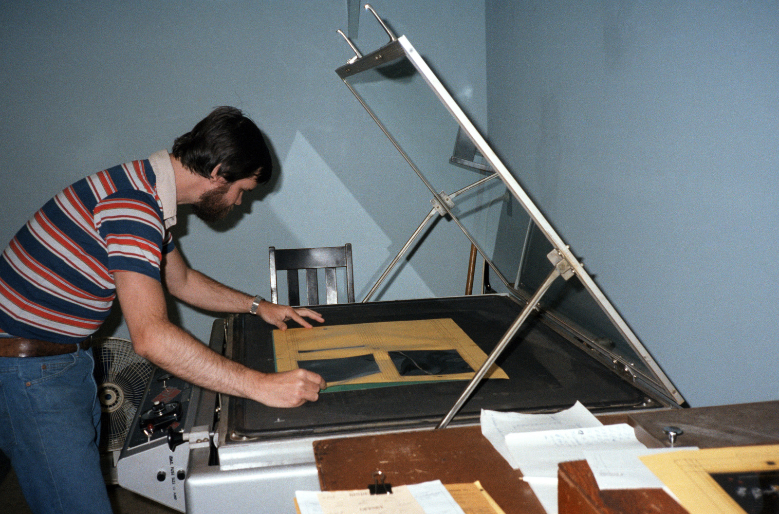 David Moore makes a plate in the Field Printing Plant