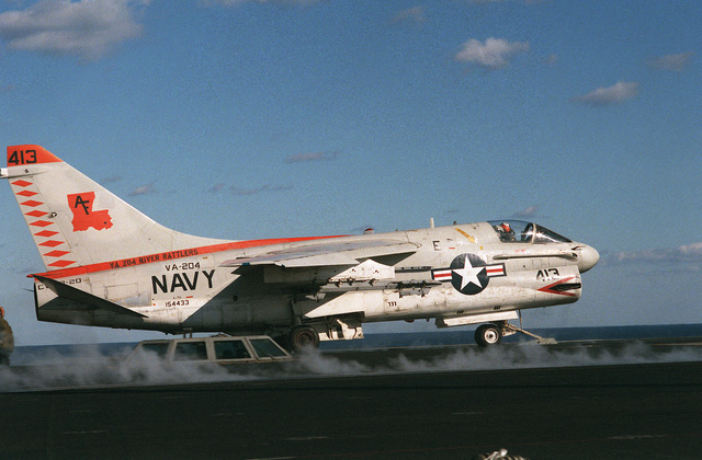 An Attack Squadron 204 (VA-204) A-7B Corsair II aircraft of the Naval Air Reserve is launched from the nuclear-powered aircraft carrier the USS DWIGHT D. EISENHOWER (CVN 69)
