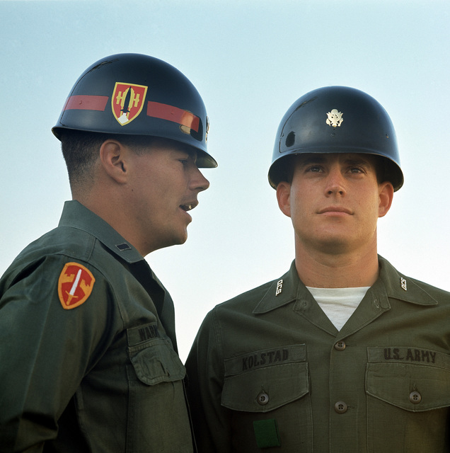 A US Army instructor gives orders to student at Officer Candidate School