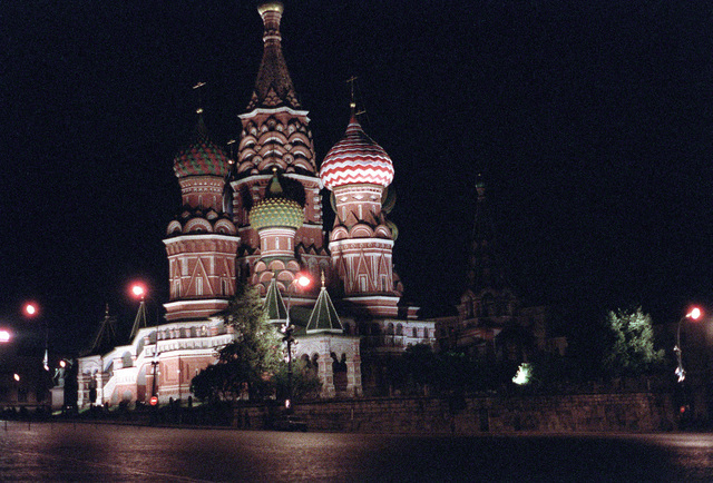 A nighttime view of the lower side of the Cathedral of the Intercession (St.Basil the Blessed Church) located on the south end of Red Square. This former Greek Orthodox church is now a museum to Soviet communism